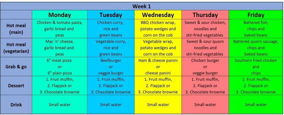 Week 1 menu