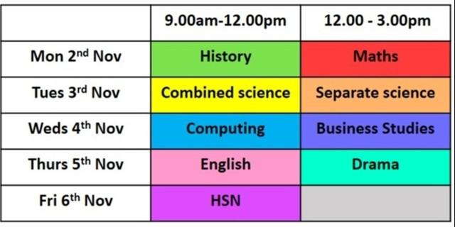 Year 11 half term revision, Monday 2nd-Friday 6th November